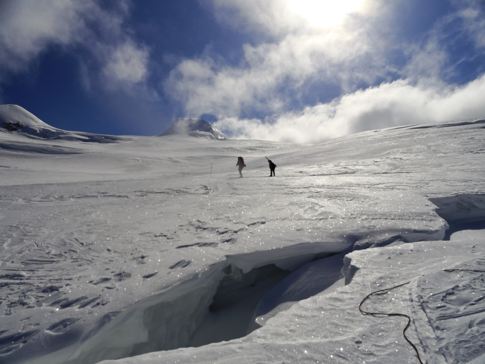 Two ski-mountaineers on Sheep Glacier at Wrangell-St. Elias National Park & Preserve