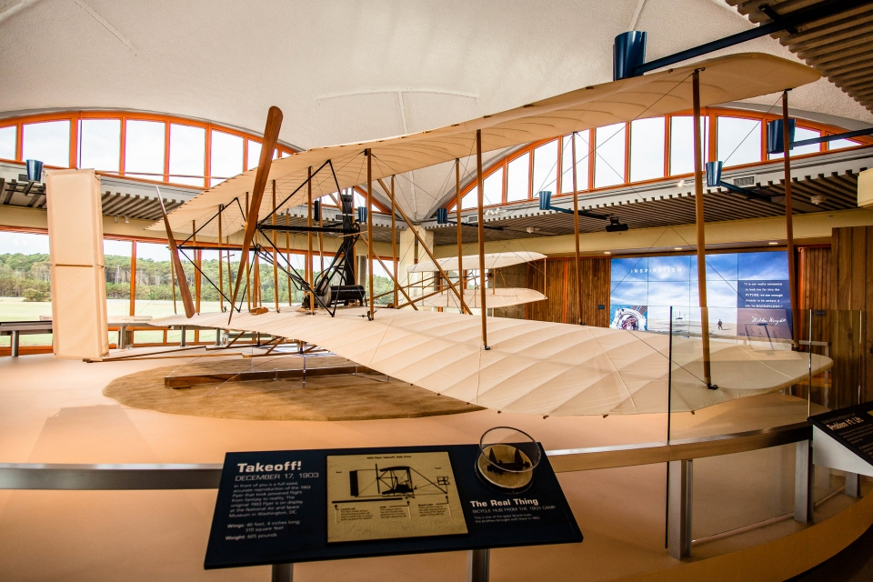 Plane exhibit at Wright Brothers National Memorial