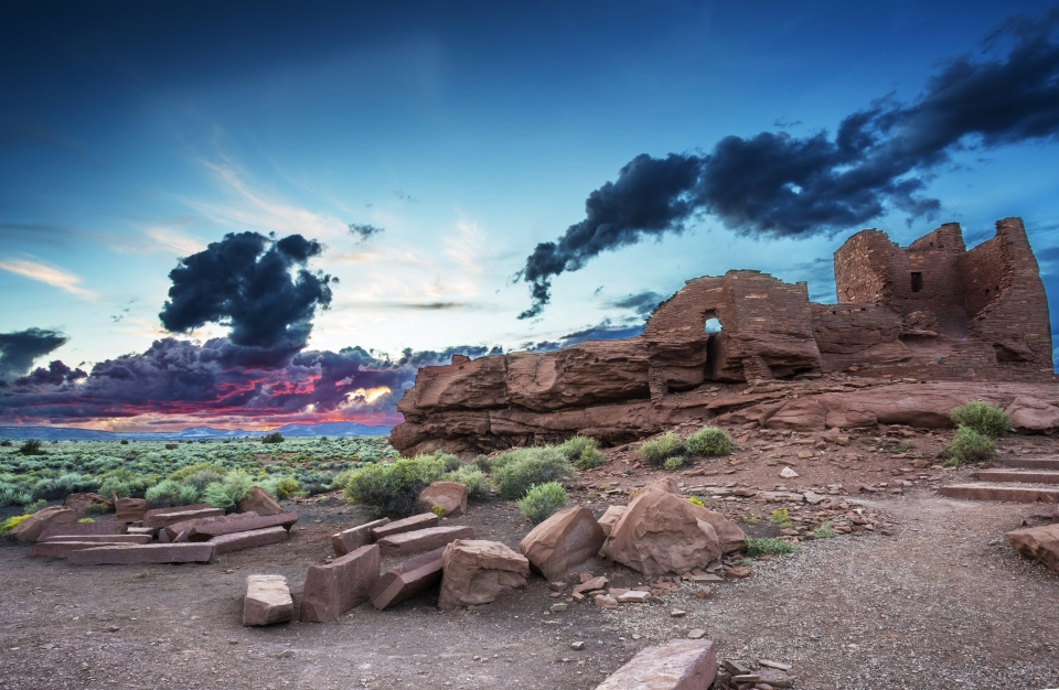 Wupatki National Monument with a colorful sunset sunset