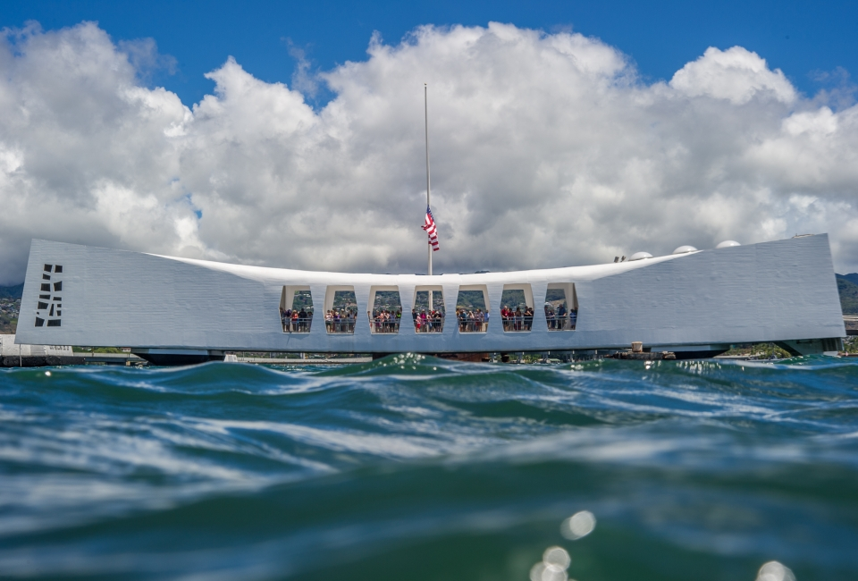 USS Arizona Memorial over the water at World War II Valor in the Pacific National Monument