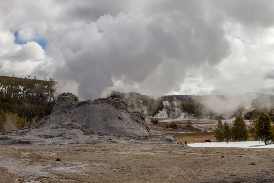Castle Geyser erupts at Yellowstone National Park