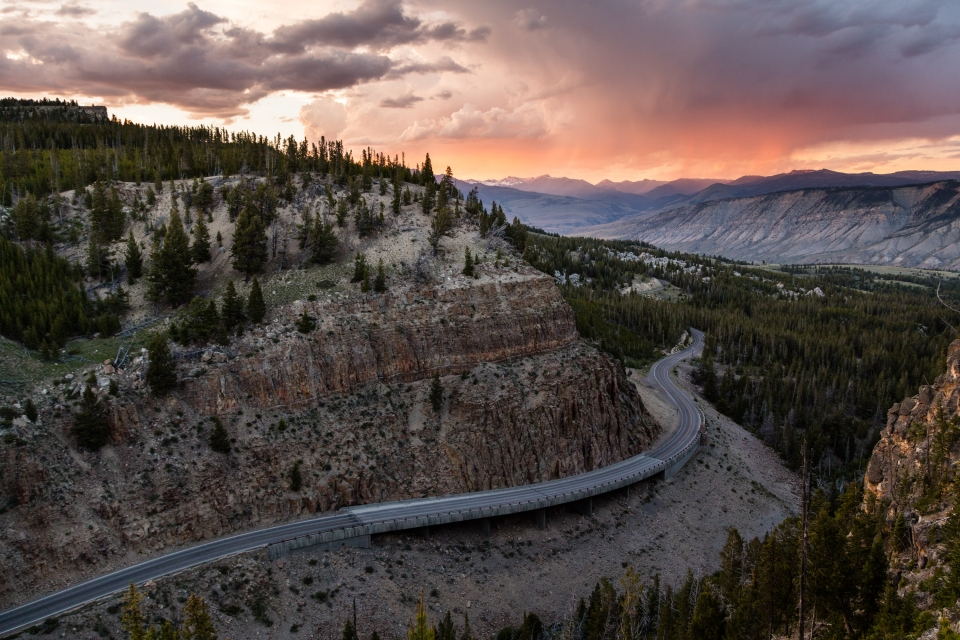 The Grand Loop Road winding through the mountains of Yellowstone National Park