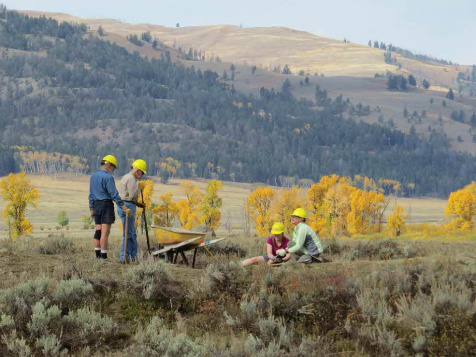 4 People wearing yellow hardhats doing trail work at Yellowstone National Park