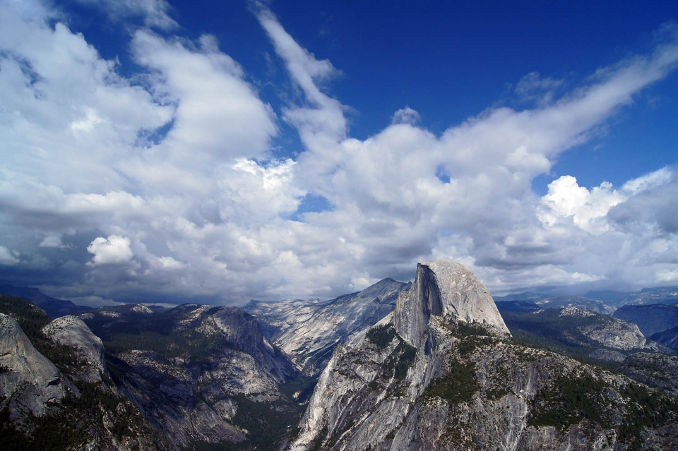 View of Half Dome and Yosemite Valley from Glacier Point at Yosemite National Park