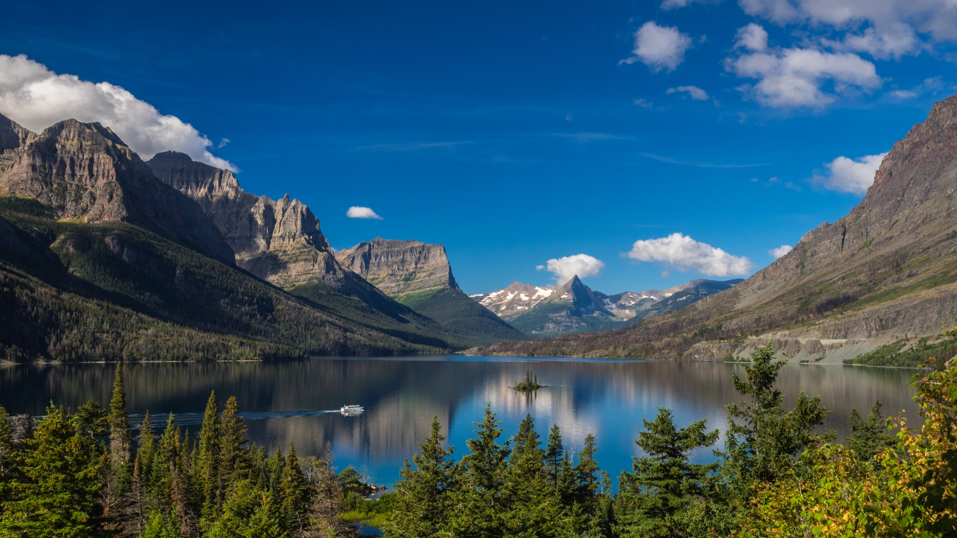 A morning view of Wild Goose Island in Saint Mary Lake, Glacier National Park, MT.