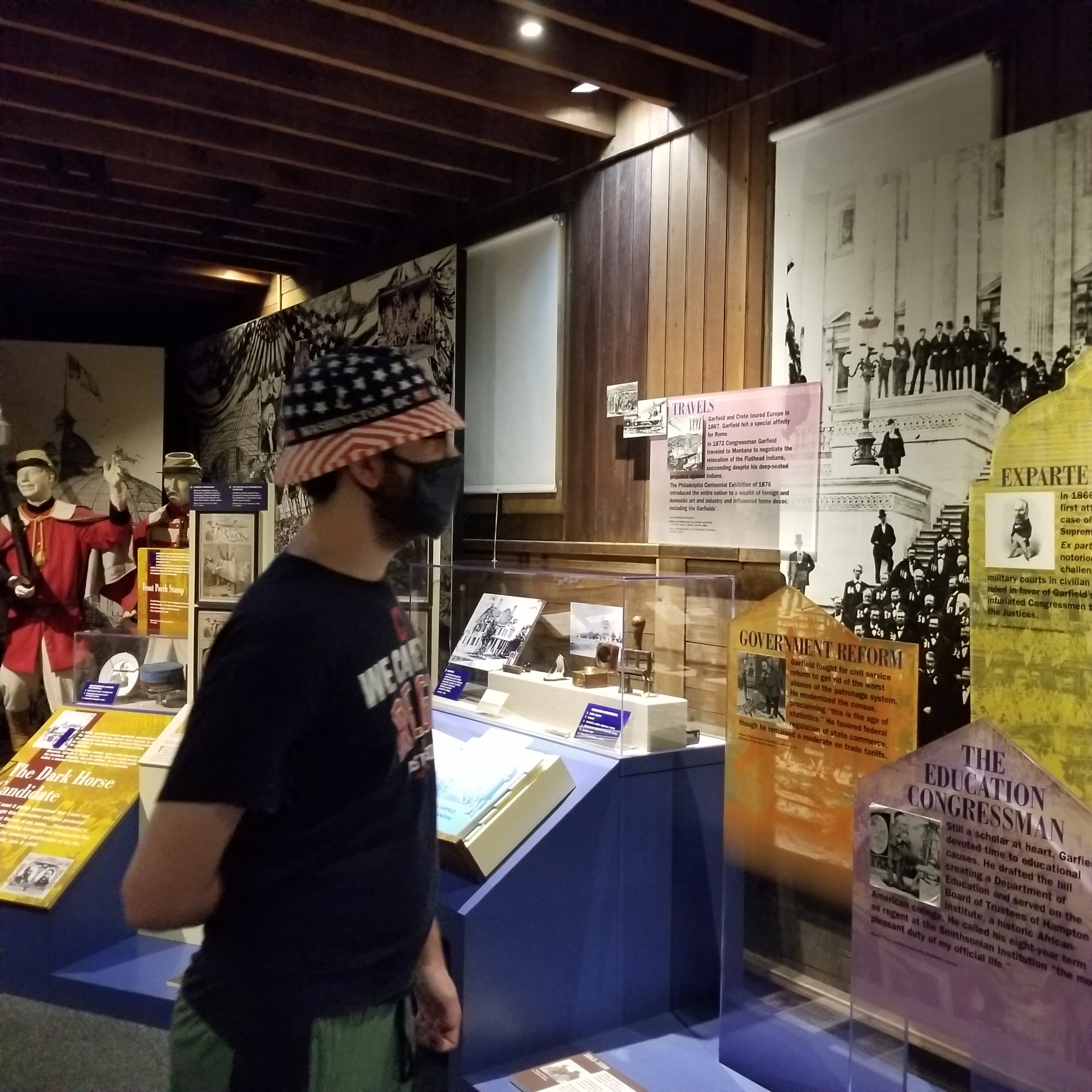 My son viewing the exhibit.