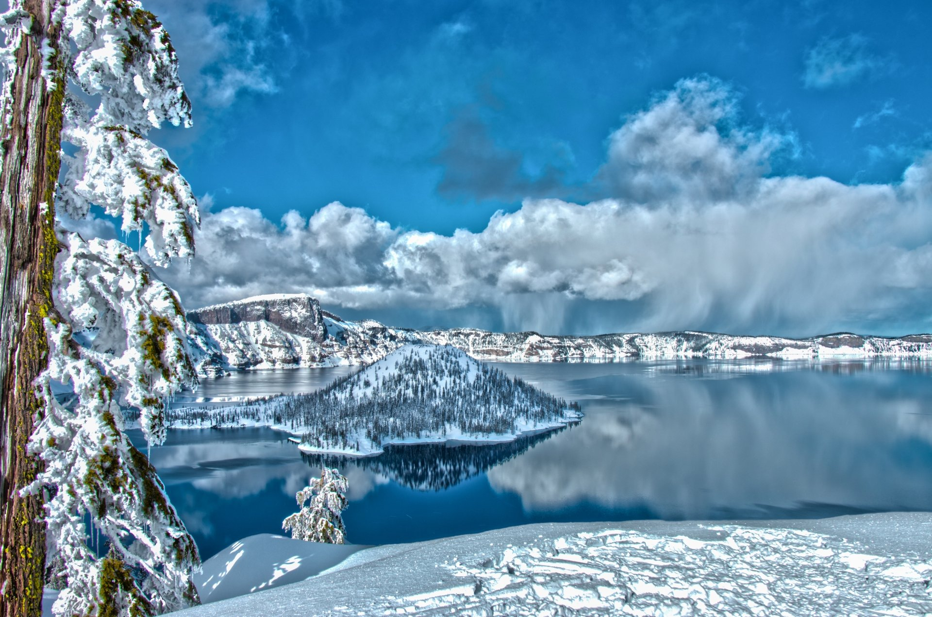 A snowy view of Crater Lake.