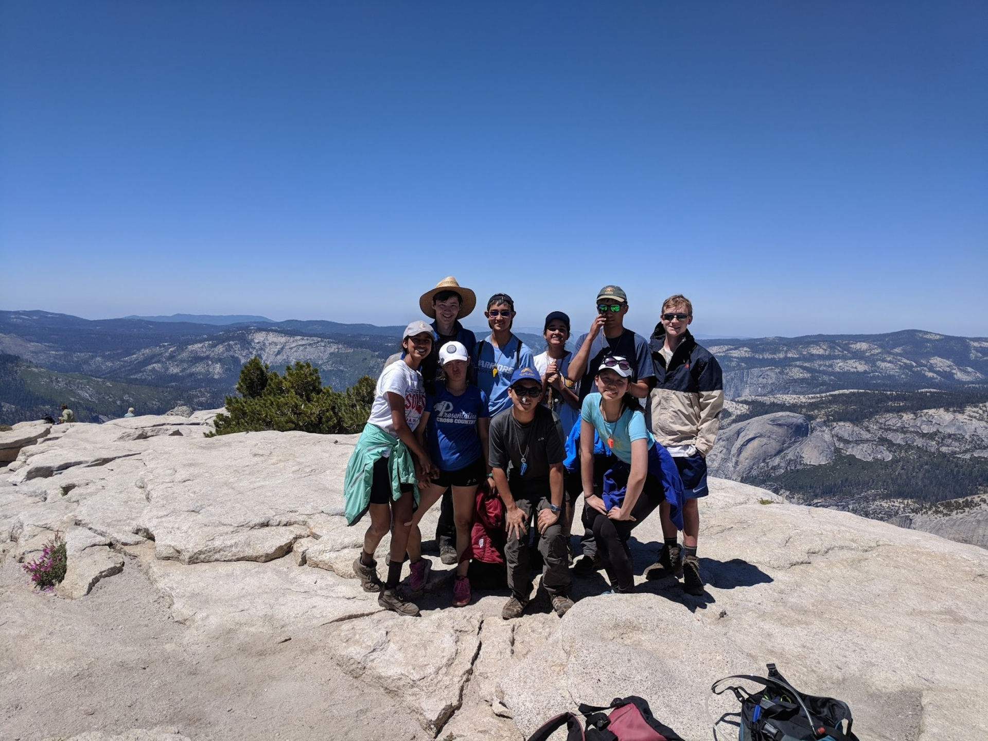 The picture is of all 9 us atop Cloud's Rest, after a gratifying hike