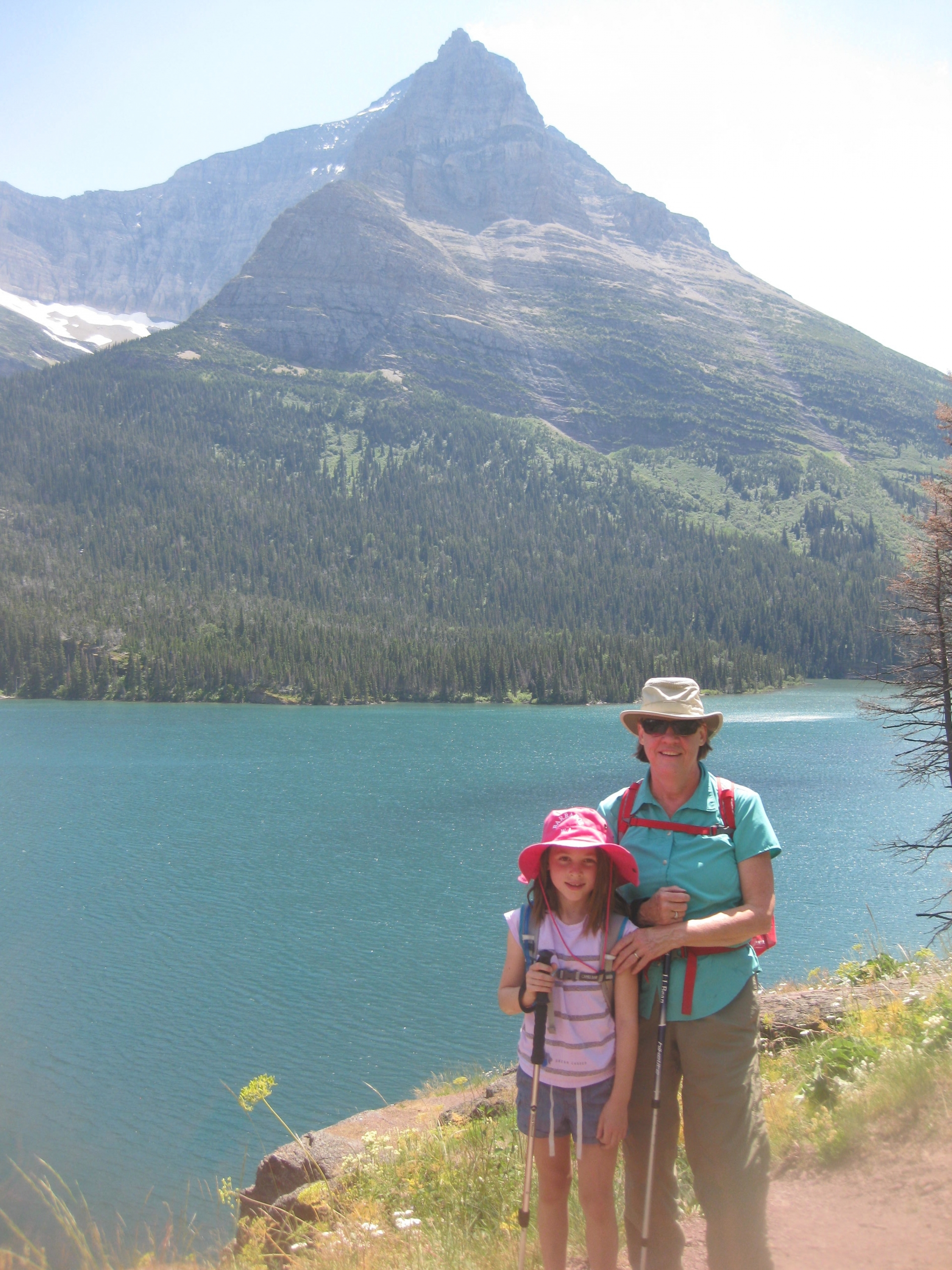 My Granddaughter's first hike in Glacier National Park- St. Mary Lake