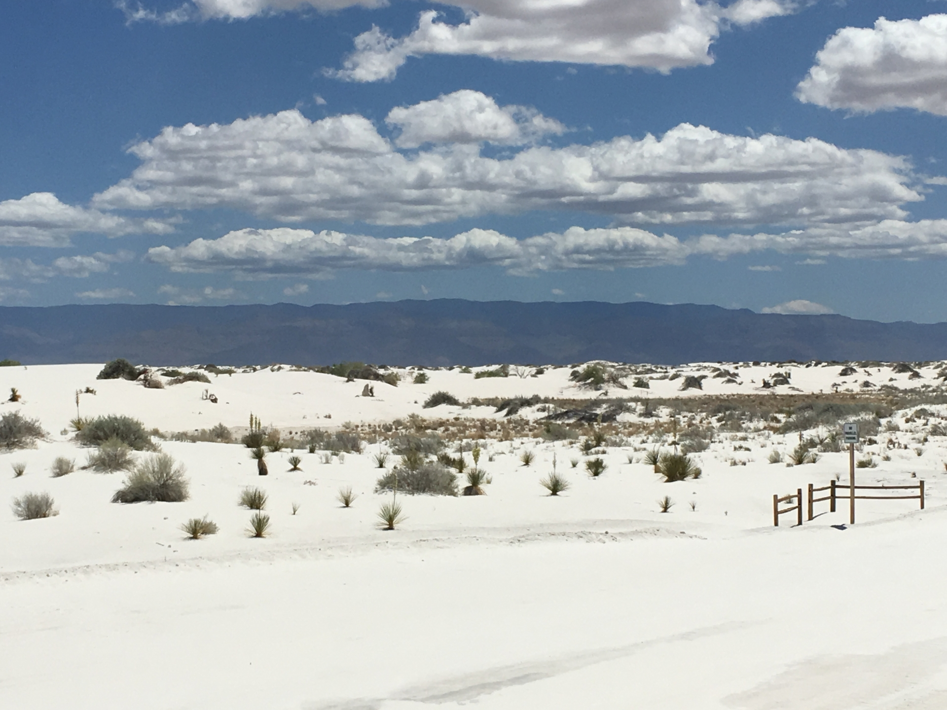 White Sands with mountains in the background