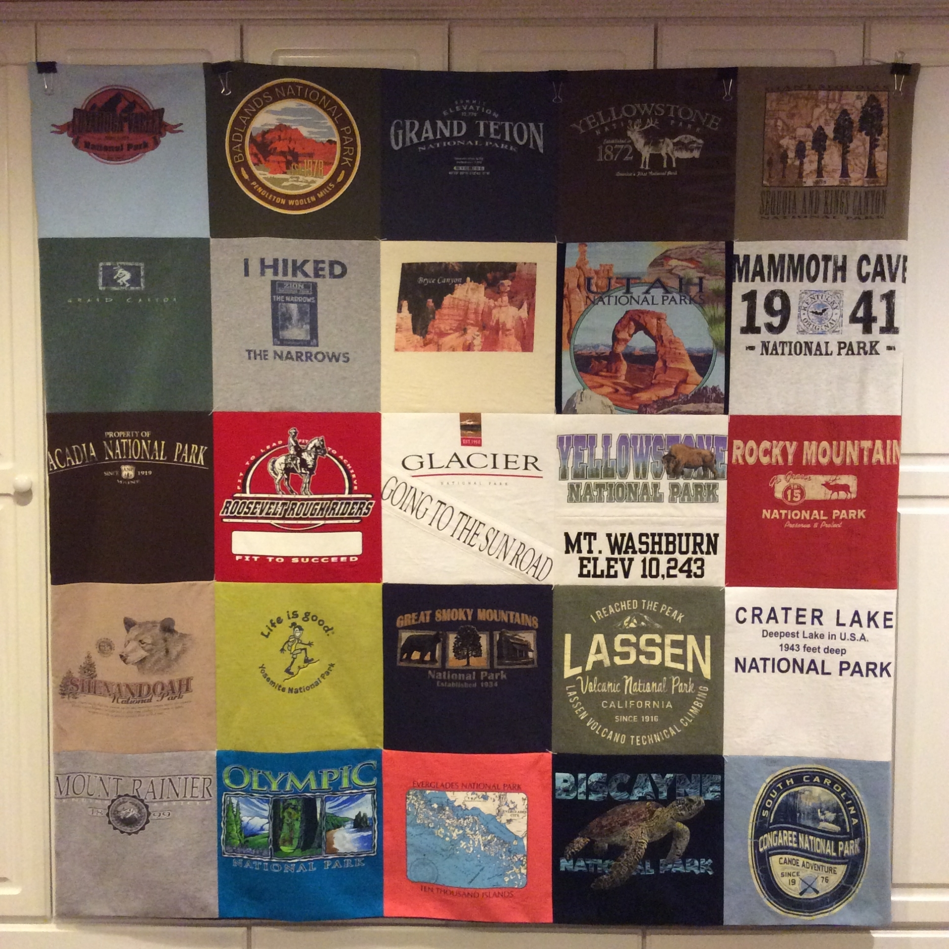 Tshirt blanket representing ten years of national park visits with our four daughters