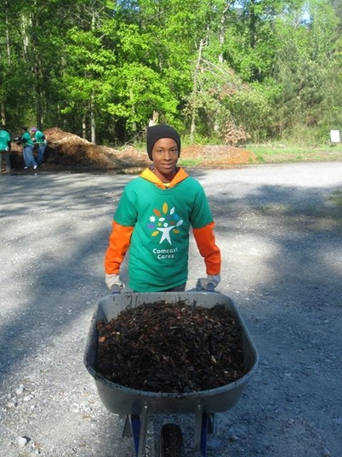 Young adult volunteering at park