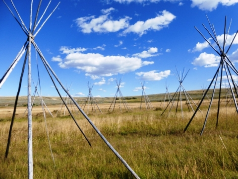 Sunny Big Hole National Battlefield with multiple tipi frames