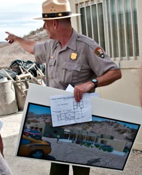 Big Bend park ranger holding map and giving instructions