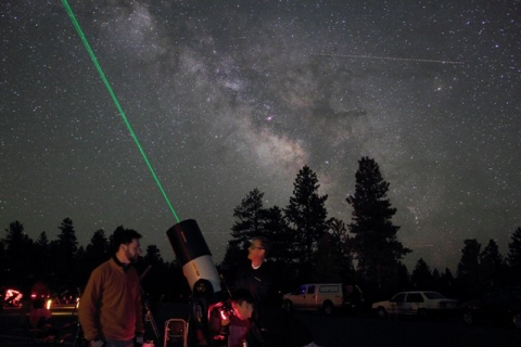 Two men with telescope at Bryce Canyon National Park Astronomy night