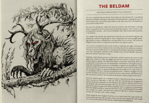 Inside pages of Campfire Stories Field Guide book on The Beldam with line-drawing of the creature.