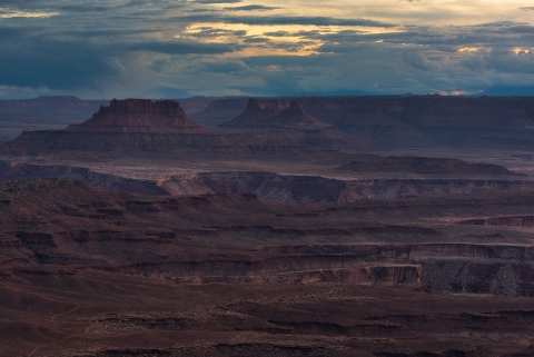 Photograph of Canyonlands park at dusk