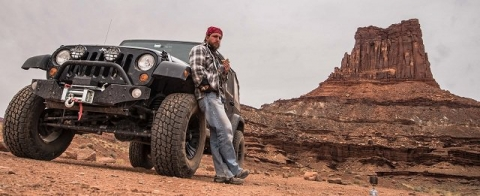 Michael Quine at Canyonlands with Jeep