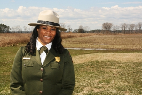 National Park Superintendent Cherie Butler in uniform
