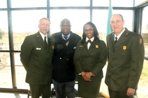 National Park Superintendent Cherie Butler standing with colleagues