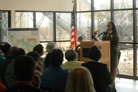 National Park Superintendent Cherie Butler speaking to park visitors