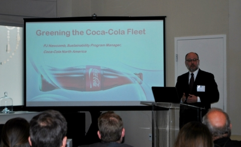 PJ Newcomb, Sustainability Program Manager, Coca-Cola North America during presentation