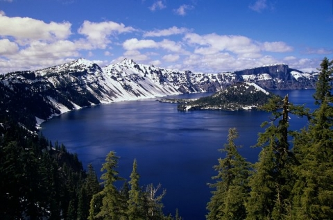 Rim of Crater Lake covered in snow