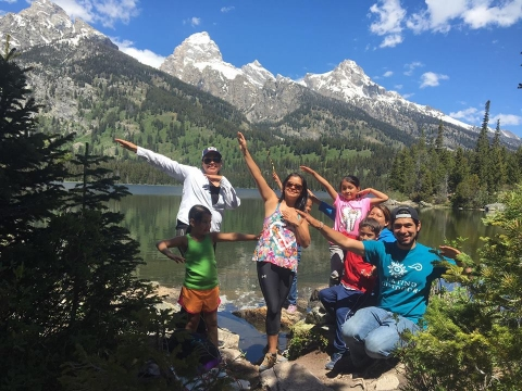 Group of Latino Outdoors participants at the Grand Tetons