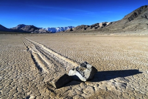 Sailing stones in the desert of Death Valley