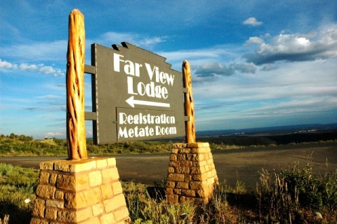 "Entrance sign, ""Far View Lodge Registration Metate Room\"""