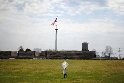 Frank Barrows Son Flying Kite at Fort Stanwix