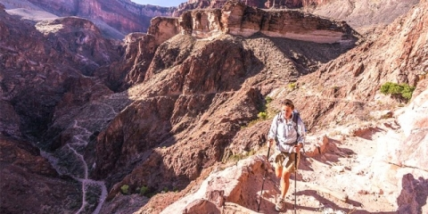 Hiker on Grand Canyon trail