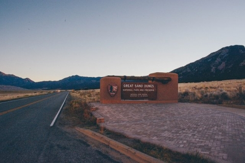Image of Great Sand Dunes sign photographed by Victor Wei