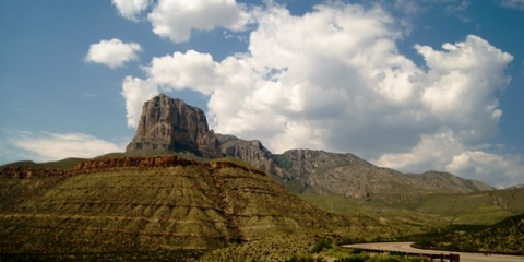 Guadalupe Mountains under clouds