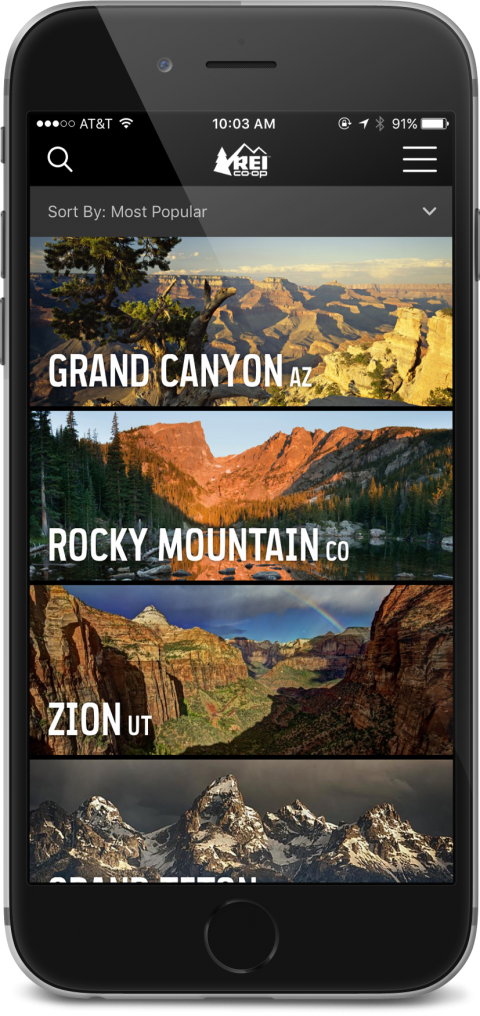 REI App showing National Parks sorted by popularity
