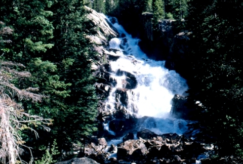 Waterfalls at Hidden Falls in Grand Teton National Park