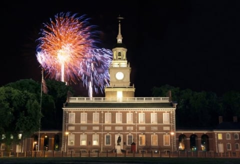 Fireworks over Independence Hall