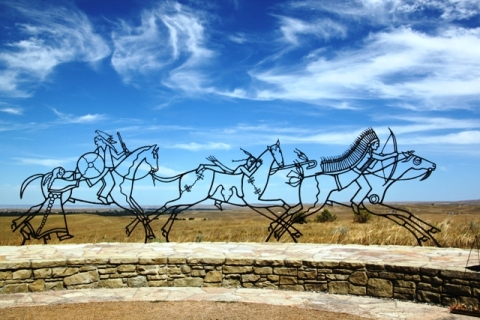 Little Bighorn Battlefield National Monument with Native American iron artwork