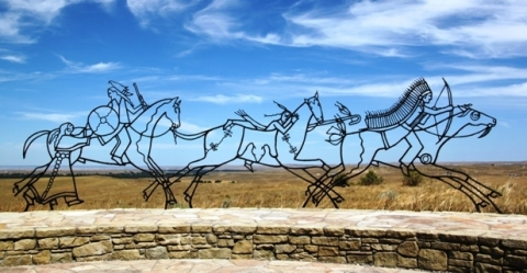 Sculpture at Little Bighorn National Monument