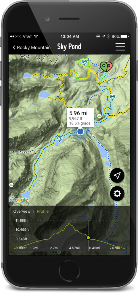 REI App showing map of Sky Pond Trail at Rocky Mountain National Park