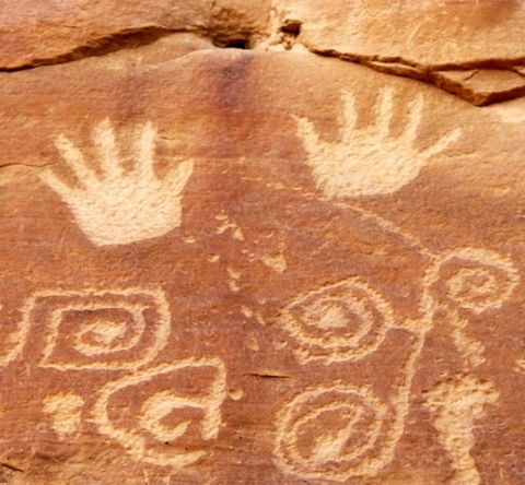 Handprints in the rocks at Mesa Verde