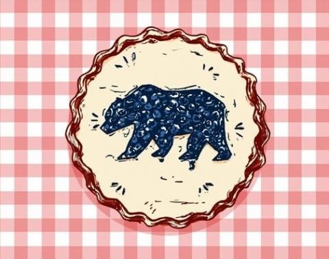 Graphic art of blueberry pie with bear shape on top of pie.