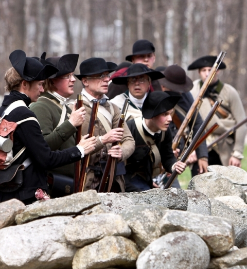 Minute Man National Historical Park actors reenacting Revolutionary War battle