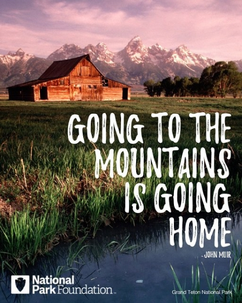 "Image of Muir quote, ""Going to the mountains is going home."""