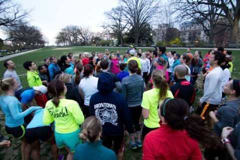 Gathering of runners in Meridian Hill Park