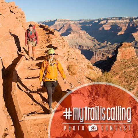 """Two women hikers at the grand canyon, \""""#MyTrailisCalling Photo contest"""""""