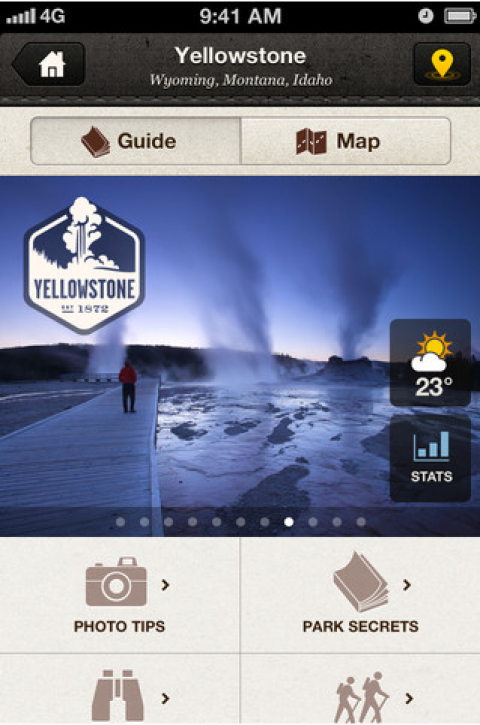 "National Geographic National Park App, screenshot of ""Yellowstone: Wyoming, Montana, Idaho, Guide map, Park Secrets, Photo tips\"""