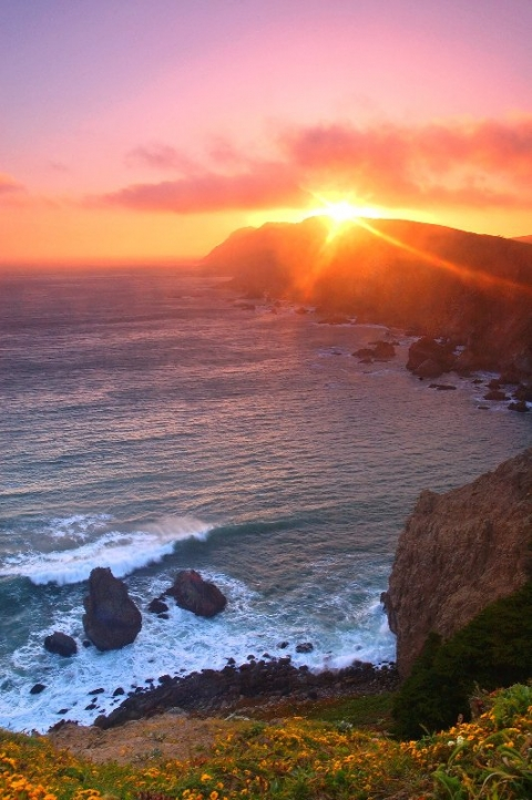 Sunset from cliff at Point Reyes national seashore