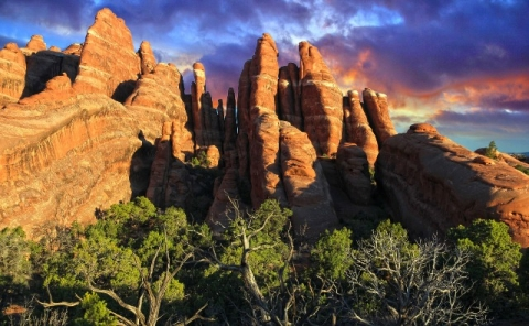 Red Rock Fins at Arches National Park in front of a colorful sky