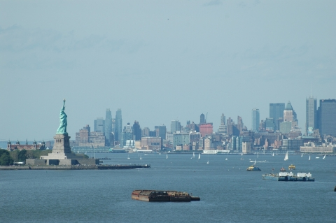 Statue of Liberty with the New York City scape behind